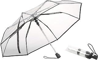 Carlo Milano Regenschirm: Stabiler Automatik-Taschenschirm mit transparentem Dach, Ø 100 cm (Damen-Regenschirm)