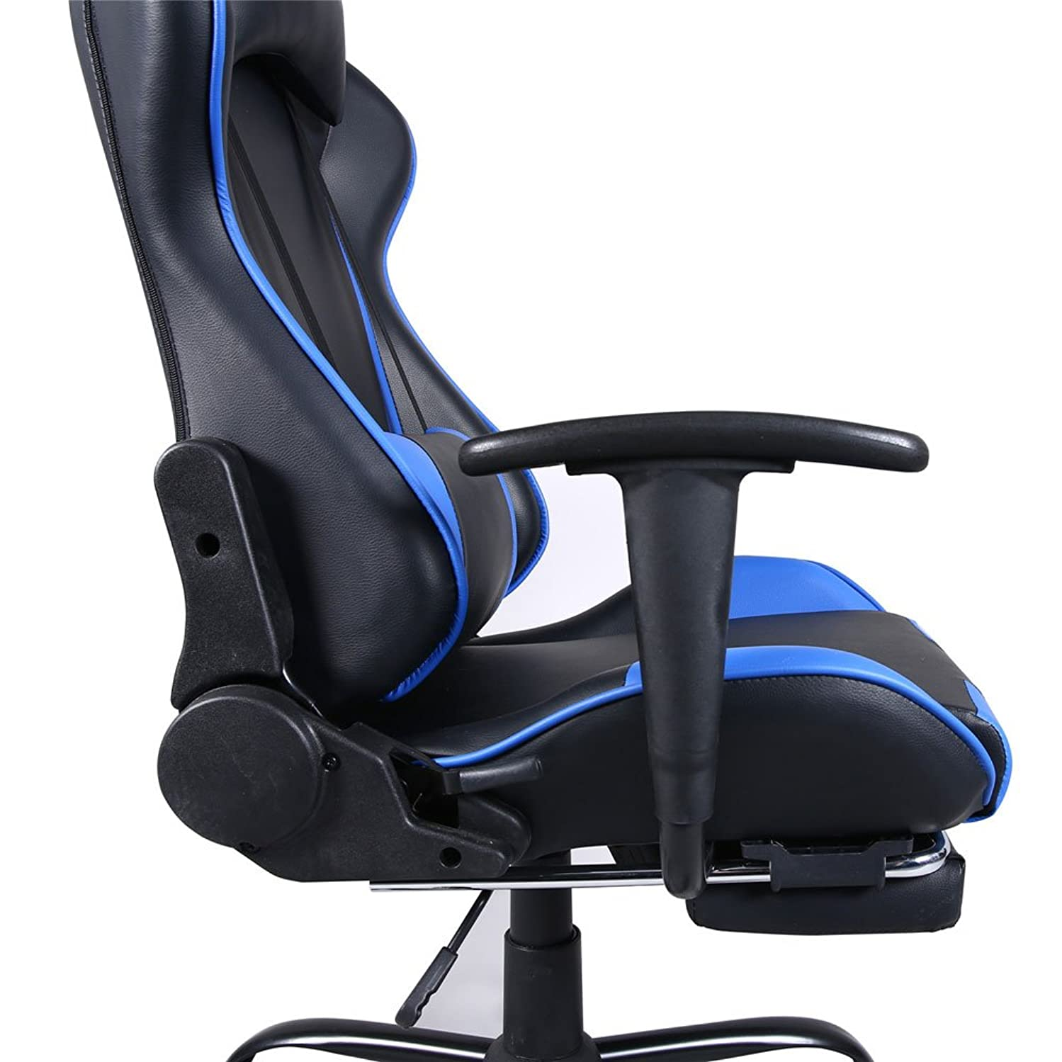 Tofosun High Back Swivel Chair Racing Gaming Chair Office Chair with Footrest Tier Black & Blue