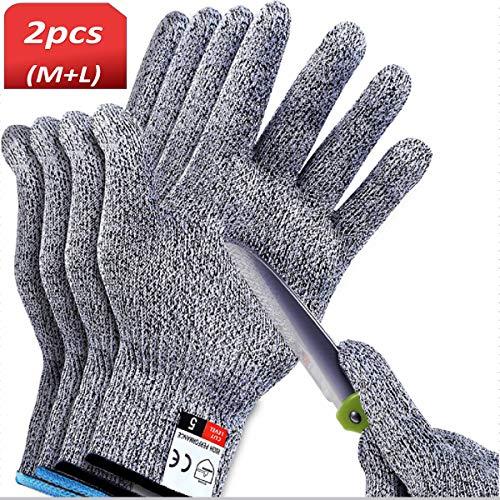 2 Paare Schnittfeste Handschuhe Arbeitshandschuhe Stufe 5 Arbeitsschutzhandschuhe Mann Schnittfeste Handschuhe für Küche Metzger Arbeit SchutzHände (Größe M & L Größe)(Verpackung:EINWEG)