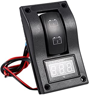 Keenso 12V Voltmeter DC Batterie Test Panel Wippschalter Panel LED Hintergrundbeleuchtung Wippschalter Voltmeter