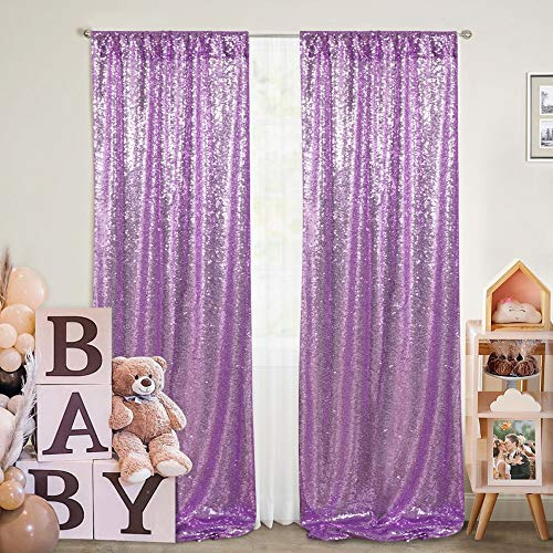 Lavender Sequin Photography Backdrop Curtains 2 Panels 2FTx8FT Wedding Photo Backdrop Glitter Birthday Bridal Party Curtains Sparkle Background Drapes