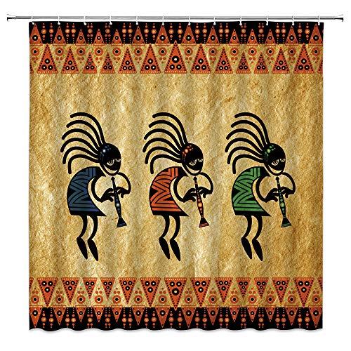 Southwestern Duschvorhang Indianer Kokopelli Ethnisch Tribal Vintage Geometrisch Retro Musik Landwirtschaft Antike Azteken Badezimmer Heimdekoration mit 12 Haken, Schwarz Grün