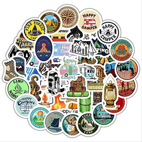 RUIRUI Go Camping Travel Stickers Wilderness Adventure Outdoor Landscape Diy Laptop Suitcase Motor Car Decal Sticker 50Pcs