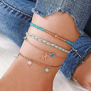 Ushiny Boho Farfalla Beach Cavigliera Oro Braccialetto alla caviglia con perle estive Cavigliere in corda intrecciata Acce...