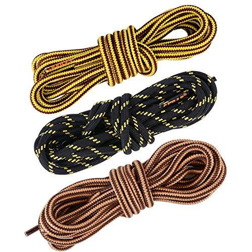 AONER 3 Pares Cordones Redondos de Bota Montaña Zapatos Senderismo 5mm Patin Multicolores Rayas Resistente y Fuerte Unisex