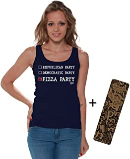 Awkwardstyles Women's Republican Democratic Pizza Party Tank Top W + Bookmark