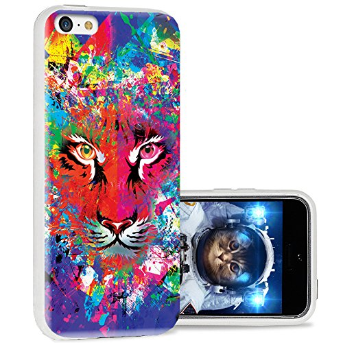 iPhone 5c case Cool, iPhone 5c case Cute, ChiChiC Full Protective Stylish Case Slim Durable Soft TPU Cases Cover for iPhone 5c,Colorful Green Blue red Yellow Abstract Background with Tiger Head