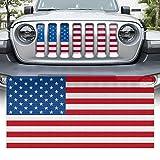 Yoursme Front Grille Grid Grill Screen Insert American Flag Design Fit for Jeep Wrangler JL JLU & Gladiator JT 2018-2021