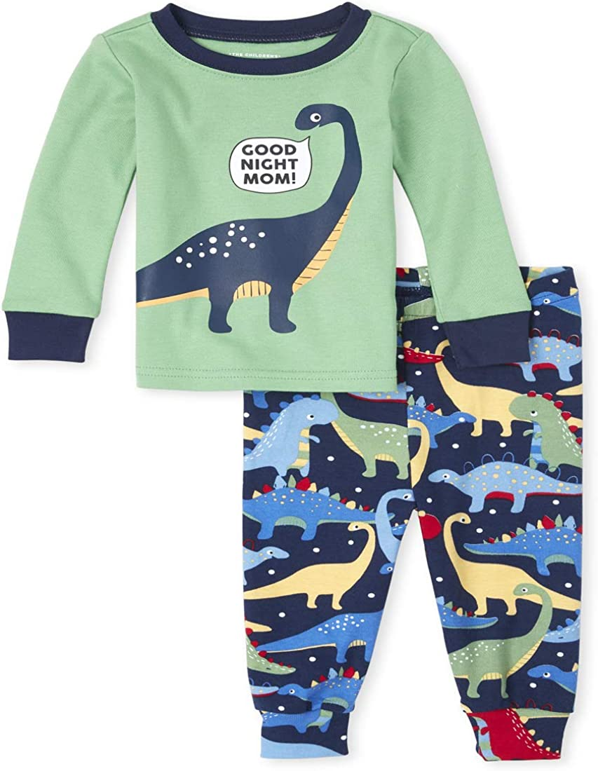 The Childrens Place Boys Baby and Toddler Dino Snug Fit Cotton Pajamas