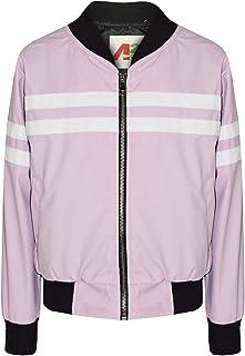 Kids Girls Jackets Contrast Striped Lilac PU Bomber Varsity School Bikers Coats