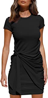 LILLUSORY Women's Summer T Shirt Dress Casual Short Sleeve Crewneck Bodycon Ruch