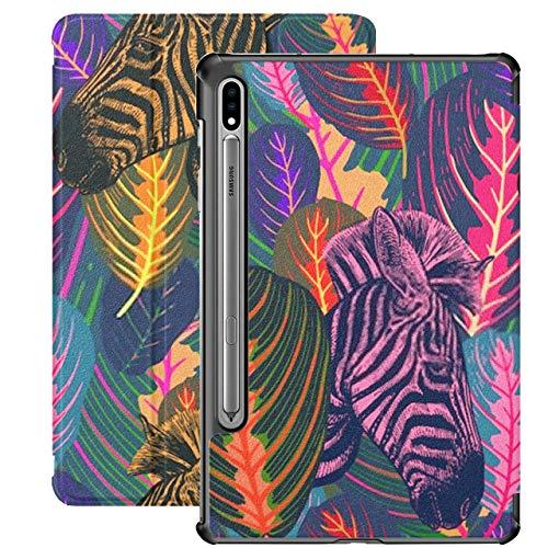 Funda para Galaxy Tab S7 Funda Delgada y Ligera con Soporte para Tableta Samsung Galaxy Tab S7 de 11 Pulgadas Sm-t870 Sm-t875 Sm-t878 2020 Versión, patrón sin Costuras Hojas Tropicales Animales Cebra