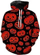 Andouy Herren Horror Halloweenkostüm Lustige 3D Druck Party Pullover Tops Lässig Langarm Kapuzenpullover Sweatshirts