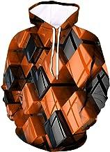 GREFER Sweatshirts Mens Creative 3D Digital Geometric Printing Hoodies - Heavyweight Long Sleeve Outwear T-Shirts