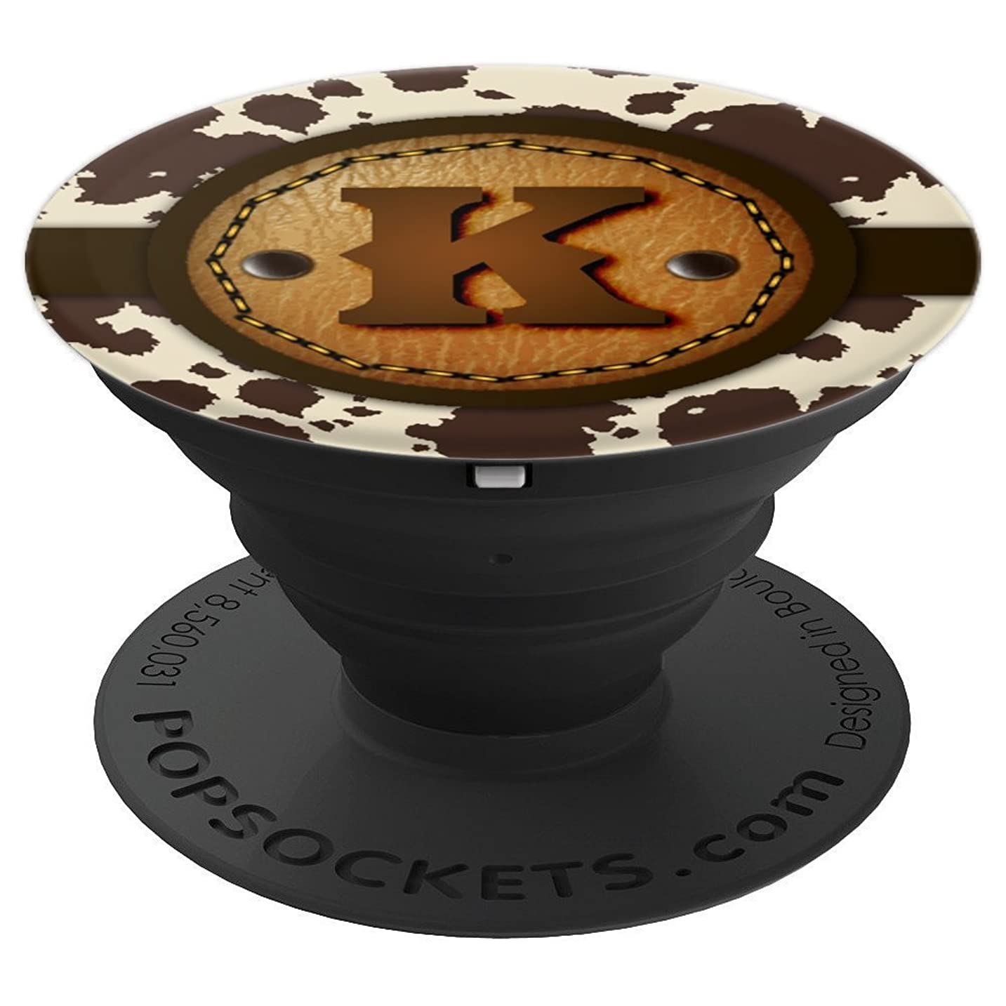 Brown Cowhide Western Leather Print Monogram - Letter K - PopSockets Grip and Stand for Phones and Tablets grkydyt787