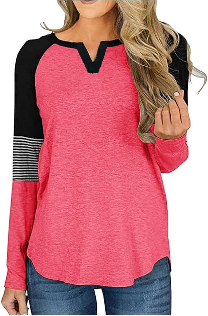 Locryz Women's Raglan Long Sleeve T-Shirt Loose Blouse Henley V Neck Baseball Tee Shirt Top