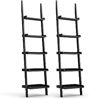 Tangkula Ladder Shelf, 5-Tier Multifunctional Modern Wood Plant Flower Book Display Shelf, Home Office Storage Rack Leaning Ladder Wall Shelf (Black, 2)