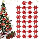30Pcs Fleurs de Noel,Décorations de Noël,Fleurs pour sapin de Noël,Noël Décor De Fleurs,Fleurs De Noël de Artificielles,Fleurs de Noel pour Le Nouvel an,Artificielles fleurs pour sapin de Noël (rouge)