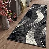Tapiso Dream Alfombra de Pasillo Cocina Escalera Diseño Moderno Negro Gris Plata Abstracto Ondas Fina Suave 80 x 400 cm