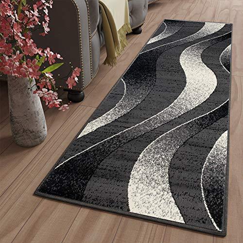 Tapiso Dream Teppich Läufer Flur Brücke Modern Streifen Wellen Streifen Muster in Dunkelgrau Creme Schwarz Korridor Wohnzimmer ÖKOTEX 70 x 300 cm