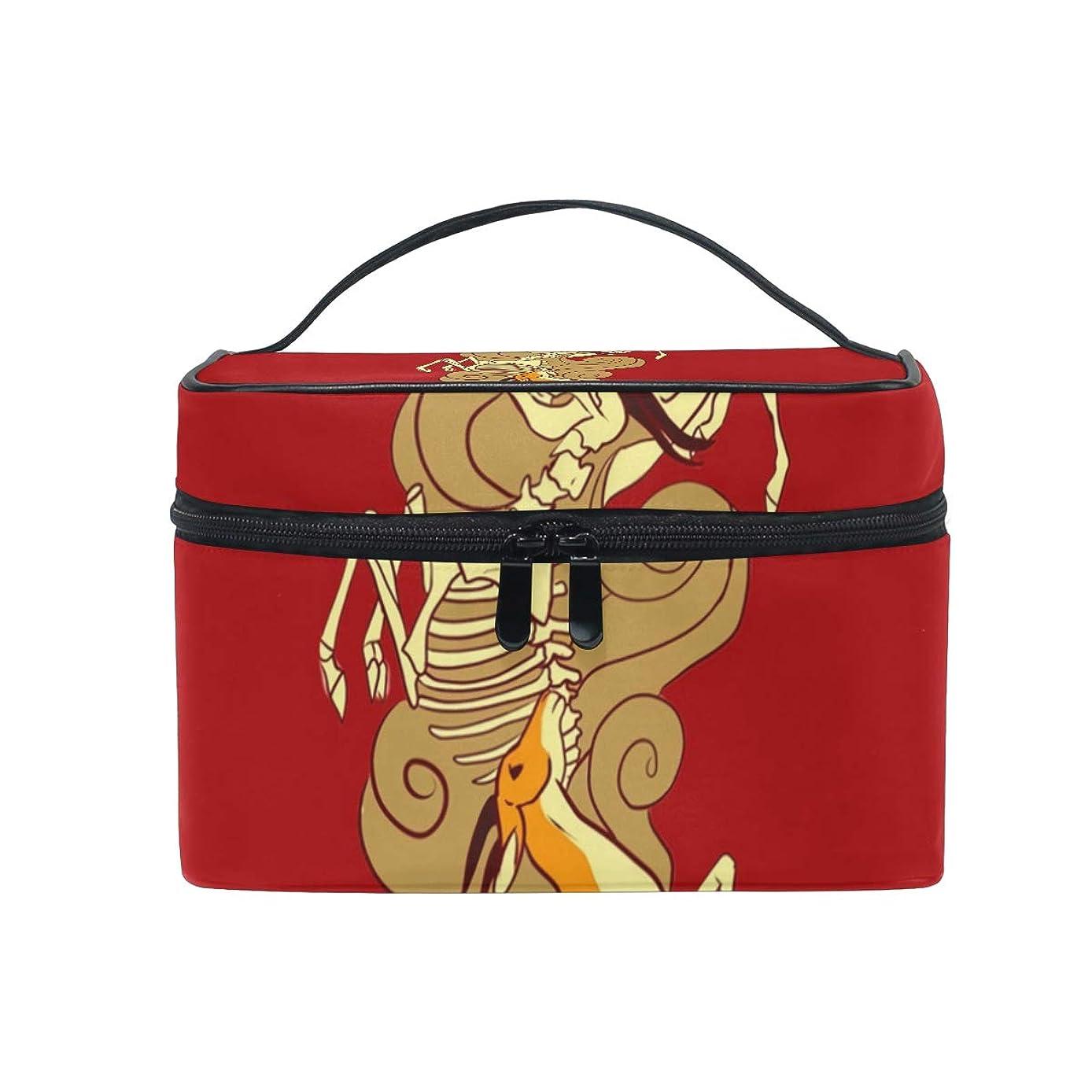 取るに足らない櫛コードメイクボックス カモシカのカモシカ柄 化粧ポーチ 化粧品 化粧道具 小物入れ メイクブラシバッグ 大容量 旅行用 収納ケース