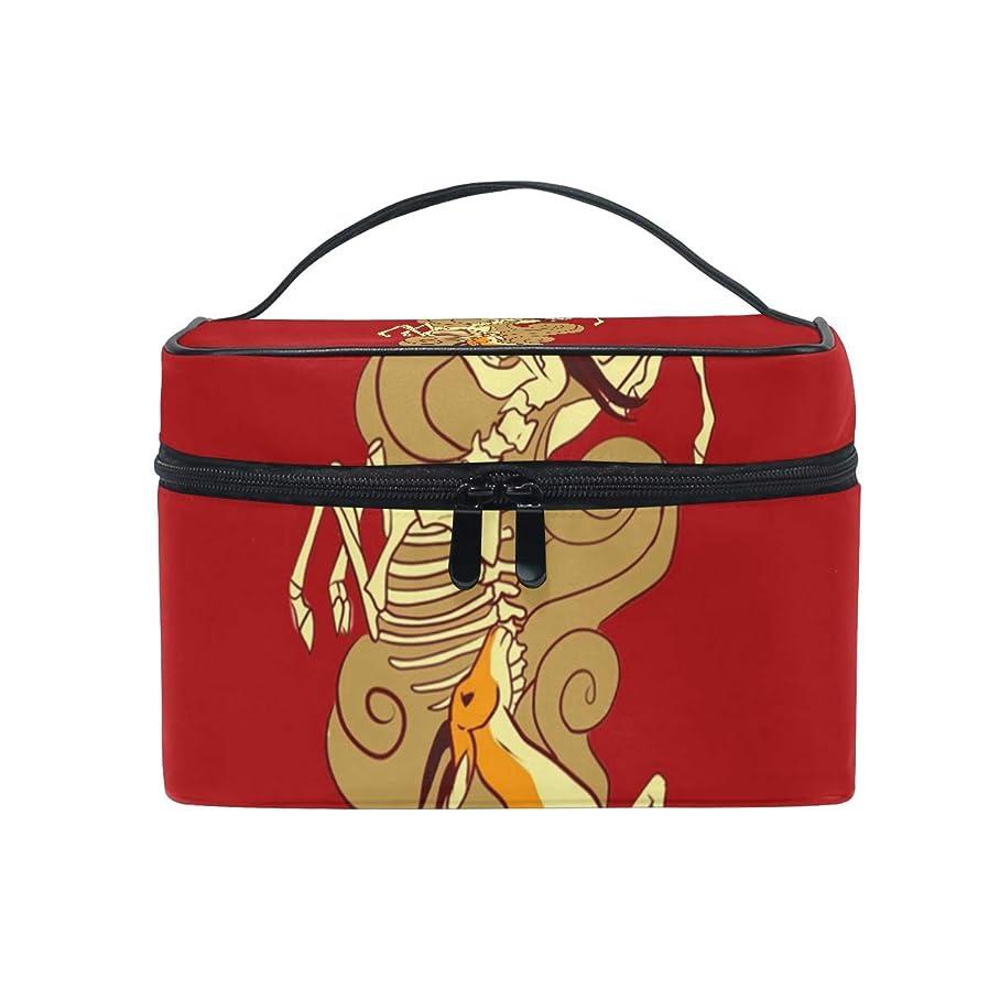 序文序文ピアメイクボックス カモシカのカモシカ柄 化粧ポーチ 化粧品 化粧道具 小物入れ メイクブラシバッグ 大容量 旅行用 収納ケース
