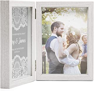 Afuly Double Picture Frame 5x7 White Wooden Hinged Photo Frames Collage Shadow Box 2 Openings Elegant Wedding Gifts