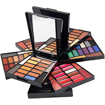 JasCherry Paleta de Sombras de Ojos 104 Colores de Estuche de Maquillaje Set Kit de alta Calidad Cosmético - Incluye Corrector Camuflaje y Bronzer y Rubor y Polvos Compactos y Brillo Labios: