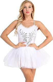 iiniim Women's Ballet Tutu Costume Black Swan Lake Dance Leotard Dress