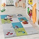 Paco Home Kinder Teppich Pirat mit Papagei Schatzkiste Kinderzimmer Karo Grün Creme Türkis, Grösse:120x170 cm