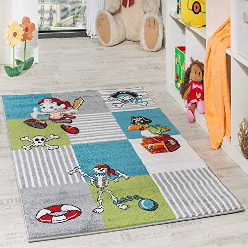 Paco Home Kinder Teppich Pirat mit Papagei Schatzkiste Kinderzimmer Karo Grün Creme Türkis, Grösse:160x220 cm