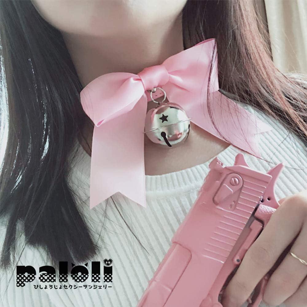 paloli Handmade Cosplay Choker Lolita Kitty Bell Collar with Ribbon Women Leather Choker Necklace