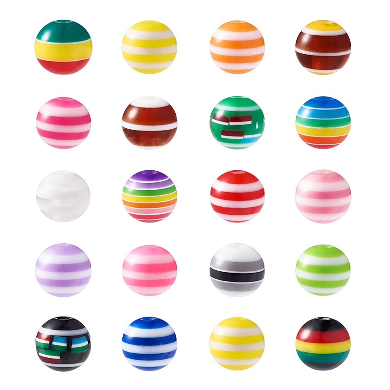 Craftdady 100Pcs Colorful 8mm Resin Stripe Line Round Ball Spacer Beads for DIY Jewelry Craft Making