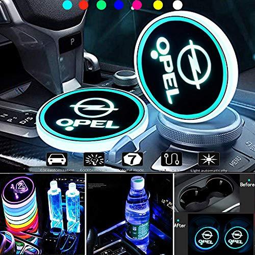HEYCASE LED Getränkehalter Auto Untersetzer 7 Farben USB Lade Becherhalter Lumineszenz Tasse Halter LED innenbeleuchtung Auto Atmosphäre Lampe Dekoration Licht (für O-pel)