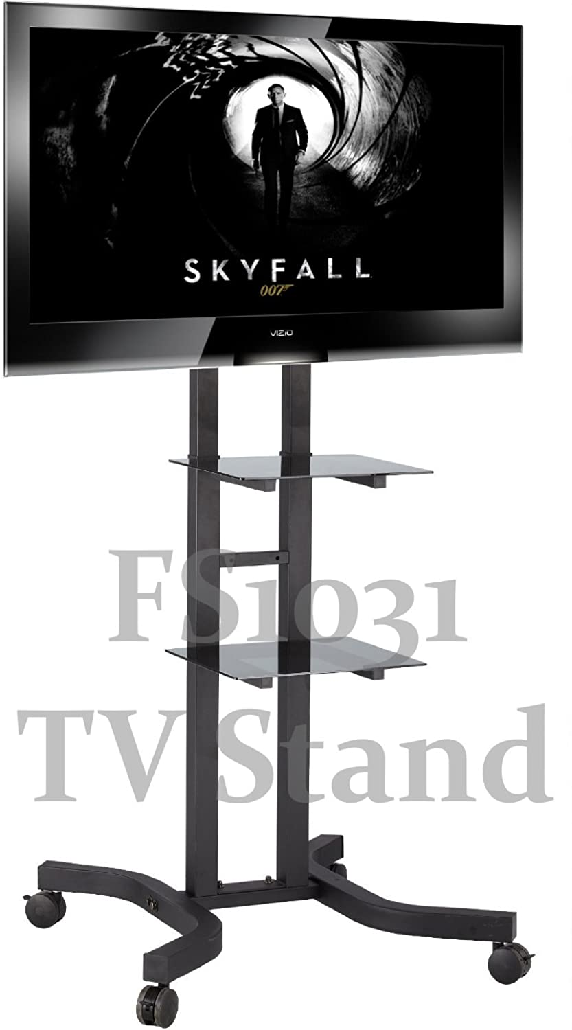 TS1031 1.5m Tall Exhibition Display Stand TV Trolley Floor Stand w  Mounting Bracket for 40-55  LCD Plasma TVs & Two Black Glass Shelves, Tilt up down 5   10 °, Adjustable height  127 to 153cm, Up to Vesa 800x400 mm