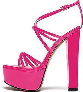 """elashe-Sandali Donna con Tacco e Plateau - 6"""" Scarpe col Tacco Blocco Alto- Cinturino alla Caviglia- Scarpe con Plateau"""