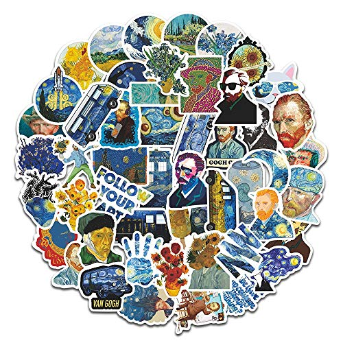 BLOUR 50 Stück Van Gogh Retro Spielzeug Aufkleber für Koffer Schulranzen Schultasche Büchertasche Bleistiftbox Ordner Telefon Laptop Reisegepäck Aufkleber