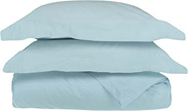 Superior 100% Egyptian Cotton 650 Thread Count, Full/Queen 3-Piece Duvet Cover Set, Single Ply, Solid, Baby Blue