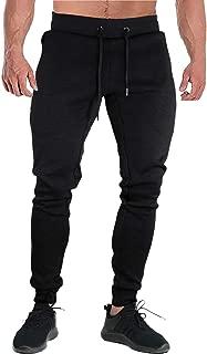 FASKUNOIE Men's Joggers Slim Fit Cotton Running Pants Sports Sweatpants with Long Zipper Pockets