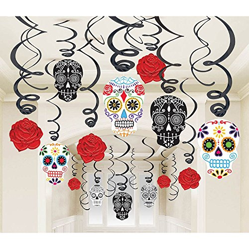Grasslands Road 30-Piece Day of The Dead Black and Bone Foil Swirls Value Pack Kit