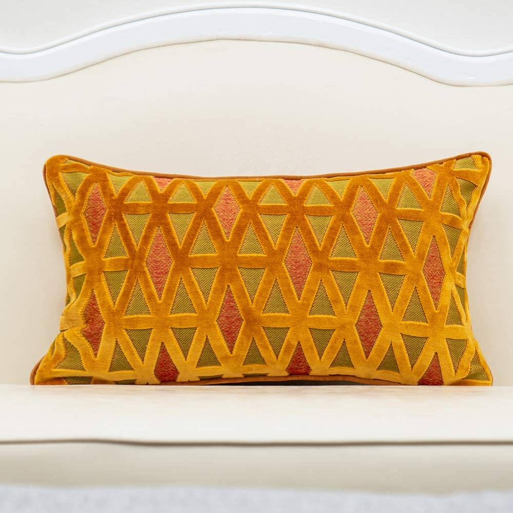 Alerfa 12 x 20 Inch Rectangle Diamond Plaid Striped Embroidery Cut Velvet Cushion Case Luxury Modern Lumbar Throw Pillow Cover Decorative Pillow for Couch Sofa Living Room Bedroom Car, Orange