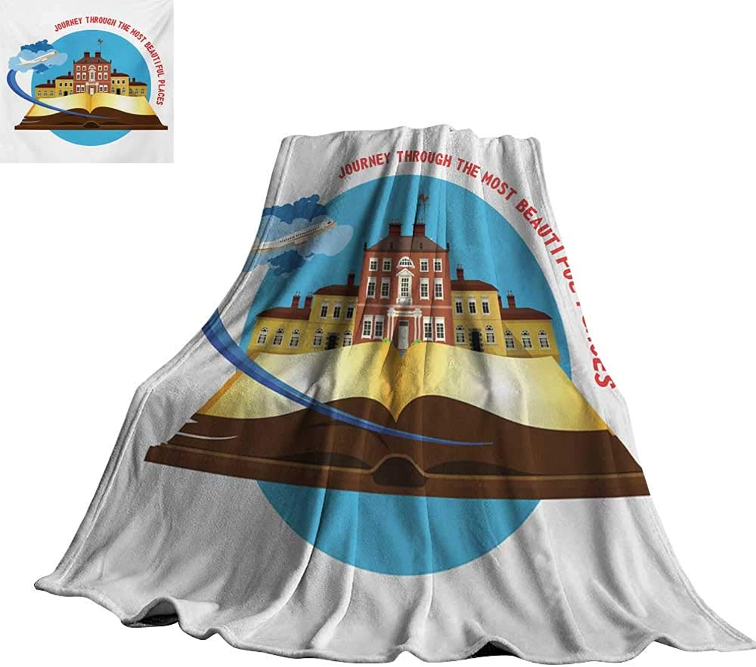 RenteriaDecor Travel,Blanket Journey Through The Most Beautiful Places Quote with Airplane Taking Off from a Book Plush Microfiber Blanket 60 x50
