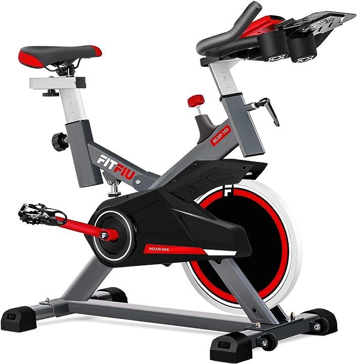 Spinbike con disco d`inerzia da 16 kg, resistenza regolabile, schermo lcd fitfiu fitness 1100025