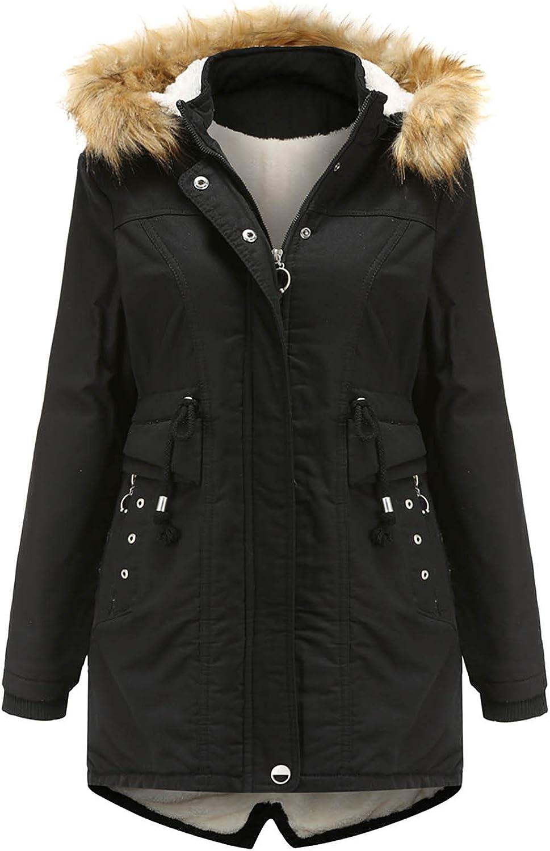 HGWXX7 Womens Outerwear Long Sleeve Plus Size Mid Long Coats Faux Fur Hood Fleece Lined Zip Up Pocket Warm Parka Jacket Black