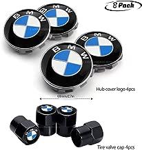 8pcs Set BMW Wheel Center Caps Emblem, 68mm BMW Rim Center Hub Caps+BMW Tire Valve for All Models with BMW Wheels Logo Blue & White Color