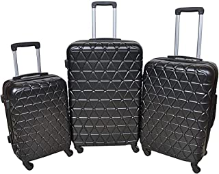 New Travel Hardside spinner luggage Set of 3 pieces with 3 digit number Lock -Black