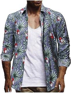 VJGOAL Hombres Camisa con Estampado Floral Hawaiana botón de la Solapa Camiseta de Manga Corta Verano Casual Blusa de Play...