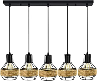 5 Head Vintage Pendant Lights Ceiling Loft Industrial Rope Rounded Chandelier Cage Retro Lamp Bird Cage Hanging E27 Lighti...