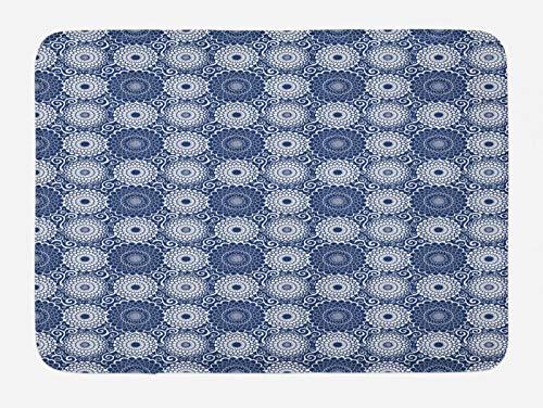 ABAKUHAUS Mandala Azul Tapete para Baño, Flores Grandes rizos, Decorativo de Felpa Estampada con Dorso Antideslizante, 45 cm x 75 cm, Azul Marino Blanco
