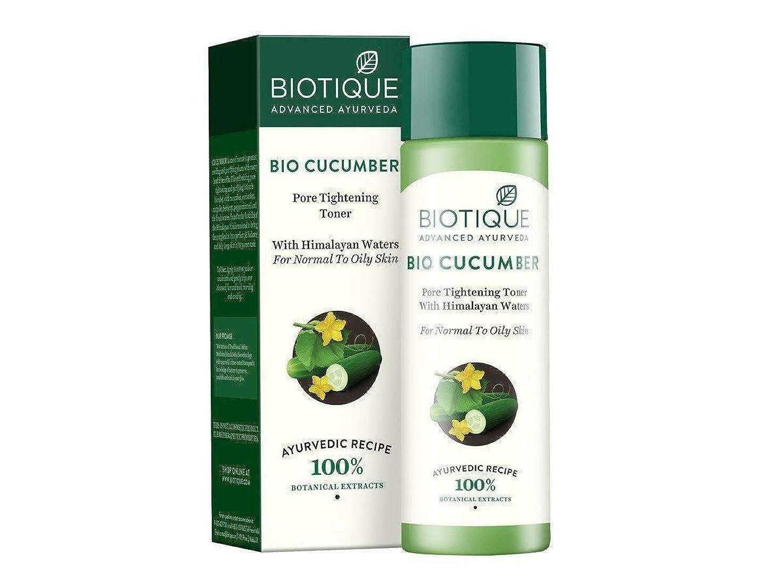 受け皿気づく軽食Biotique Bio Cucumber Pore Tightening Toner, 120ml Helps reduce skin Ageing トナーをきつく締めるBiotiqueのバイオキュウリの気孔は皮の老化を減らすのを助けます